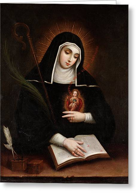 Saint Gertrude Greeting Card by Miguel Cabrera
