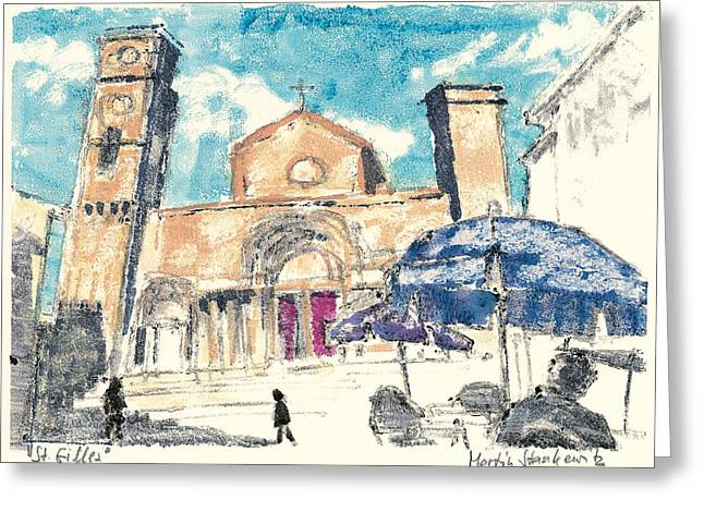 Greeting Card featuring the painting Saint Gilles Abbey by Martin Stankewitz