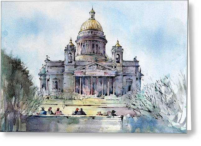 Saint Isaac's Cathedral - Saint Petersburg - Russia  Greeting Card by Natalia Eremeyeva Duarte