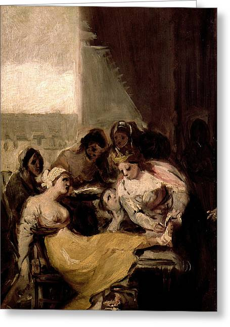 Saint Isabel Of Portugal Healing The Wounds Of A Sick Woman Greeting Card by Francisco Goya