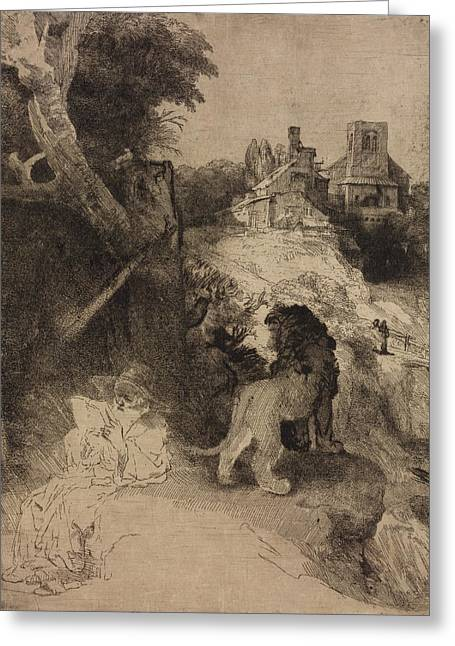 Saint Jerome In An Italian Landscape Greeting Card by Rembrandt