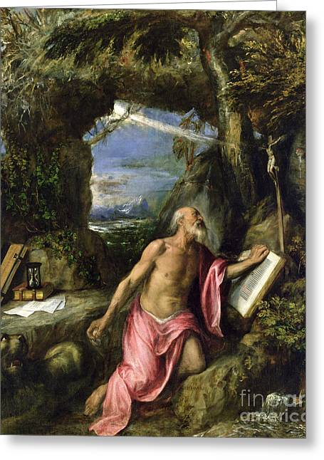 Hermit Greeting Cards - Saint Jerome Greeting Card by Titian