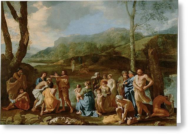 Saint John Baptizing In The River Greeting Card