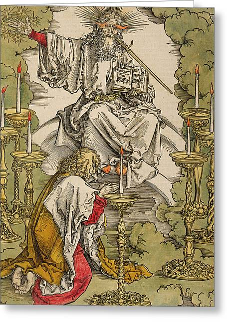 Saint John On The Island Of Patmos Receives Inspiration From God To Create The Apocalypse Greeting Card by Albrecht Durer or Duerer