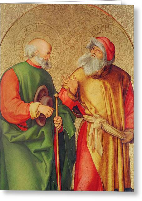 Saint Joseph And Saint Joachim Greeting Card by Albrecht Durer or Duerer