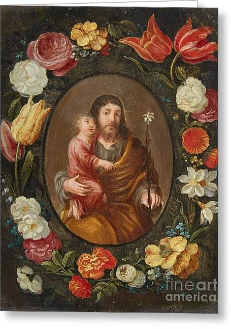 Saint Joseph And The Christ Child Greeting Card by MotionAge Designs