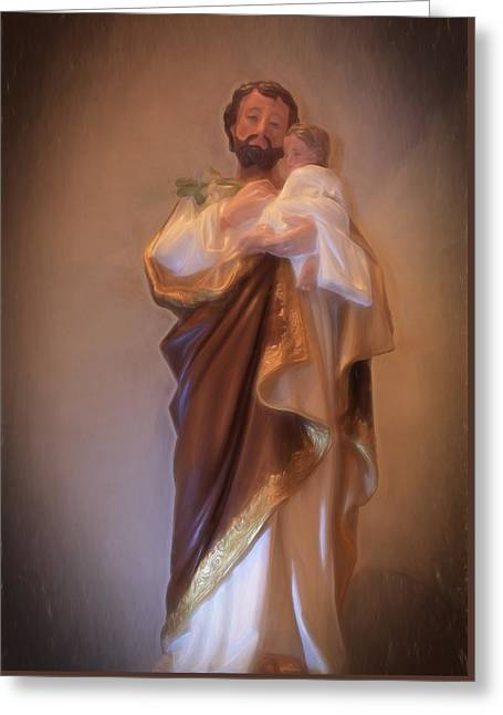 Saint Joseph Holding Baby Jesus Greeting Card by Donna Kennedy