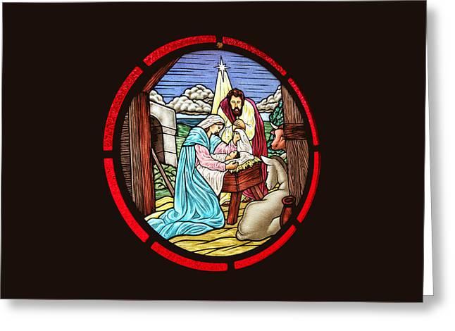 Saint Joseph Stained Glass Greeting Card by Munir Alawi
