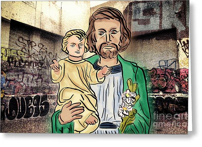 Saint Joseph The Protector Greeting Card by Davy Cheng