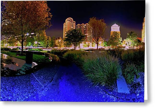 Saint Louis City Garden Panorama Greeting Card by David Coblitz