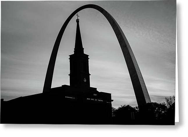 Saint Louis Skyline Silhouettes - Black And White - Usa Greeting Card by Gregory Ballos