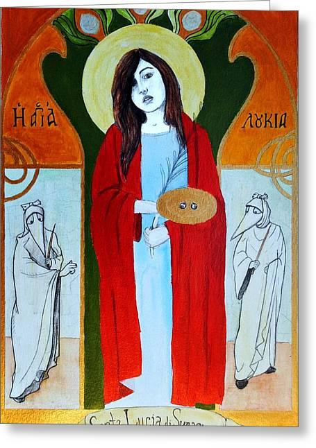 Greeting Card featuring the painting Saint Lucy by Josean Rivera