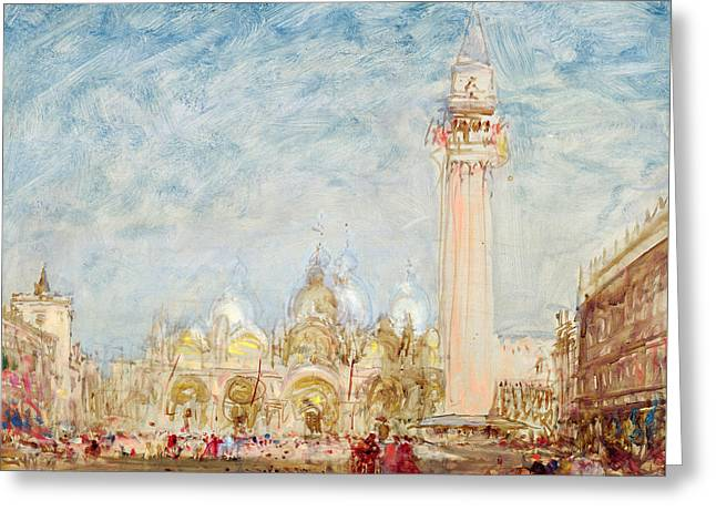 Saint Mark's Square In Venice Greeting Card by Felix Ziem