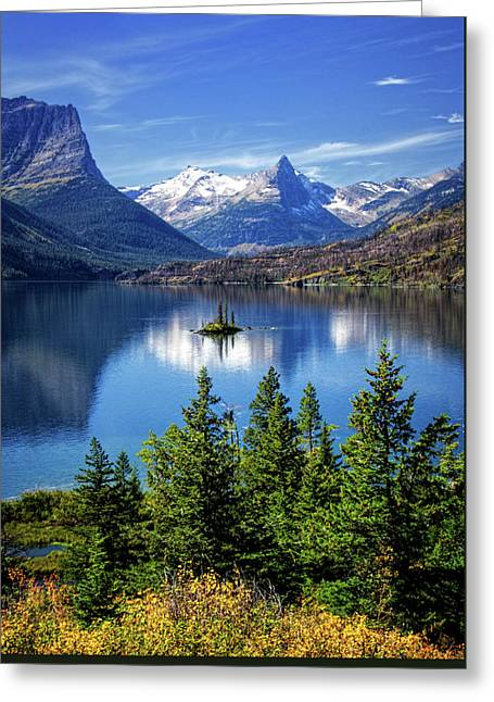 Saint Mary Lake And Wild Goose Island Greeting Card