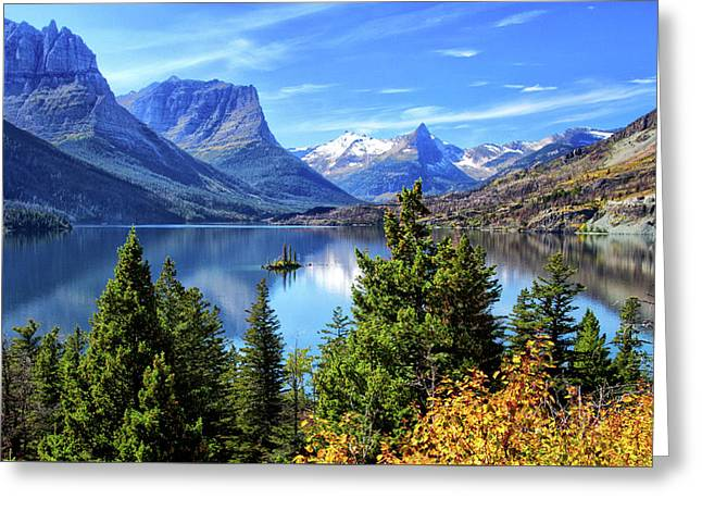 Saint Mary Lake In Glacier National Park Greeting Card