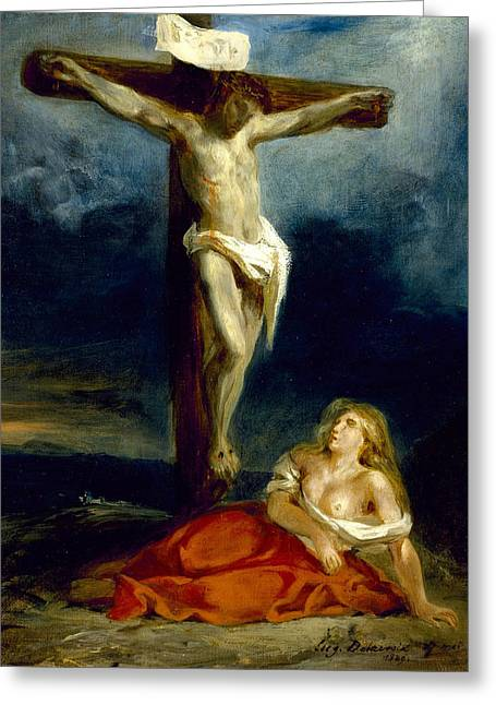 Saint Mary Magdalene At The Foot Of The Cross Greeting Card by Eugene Delacroix