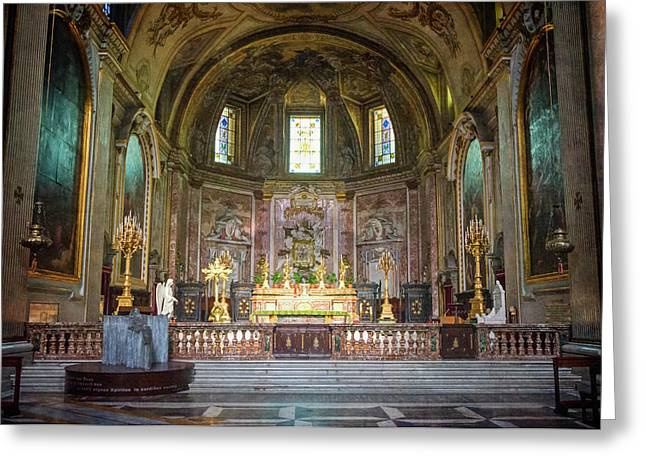 Saint Mary Of The Angels Rome Greeting Card by Joan Carroll