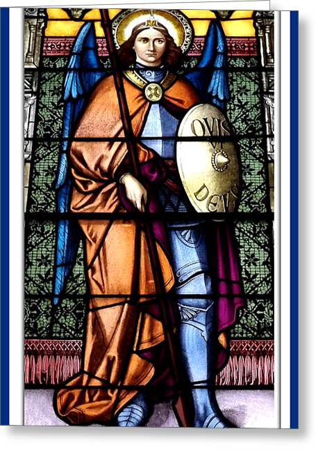 Saint Michael The Archangel Stained Glass Window Greeting Card