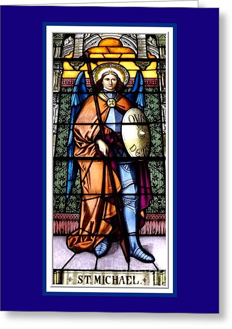 Greeting Card featuring the photograph Saint Michael The Archangel Stained Glass Window by Rose Santuci-Sofranko