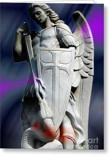 Saint Michel Greeting Card by Archangelus Gallery