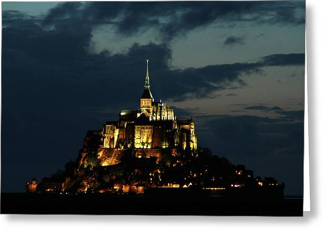 Greeting Card featuring the photograph Saint Michel Mount After The Sunset, France by Yoel Koskas