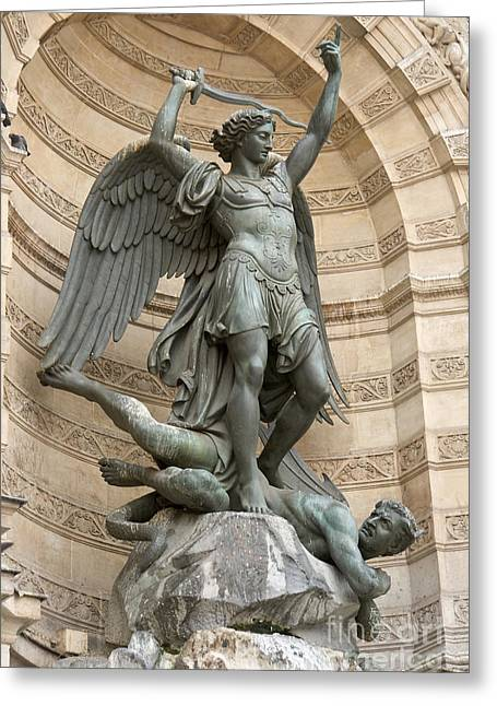 Saint Michel Striking Down The Dragon II Greeting Card by Fabrizio Ruggeri