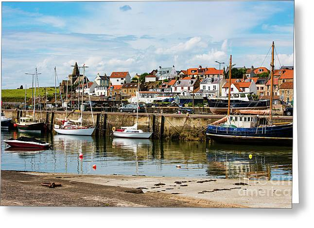 Saint Monans Harbour Greeting Card by MaryJane Armstrong