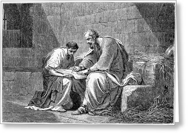 Early Christian Greeting Cards - Saint Paul In Prison Greeting Card by Granger