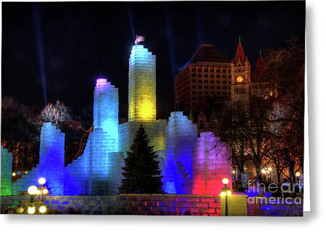 Saint Paul Winter Carnival Ice Palace 2018 Lighting Up The Town Greeting Card