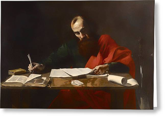 Saint Paul Writing His Epistles  Greeting Card by Mountain Dreams