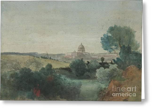 Seen Greeting Cards - Saint Peters seen from the Campagna Greeting Card by George Snr Inness