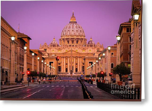 Saint Peter's Twilight Greeting Card by Inge Johnsson