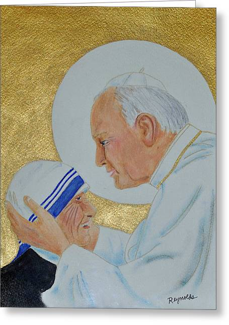 Saint Pope John Paul II And Mother Teresa Greeting Card