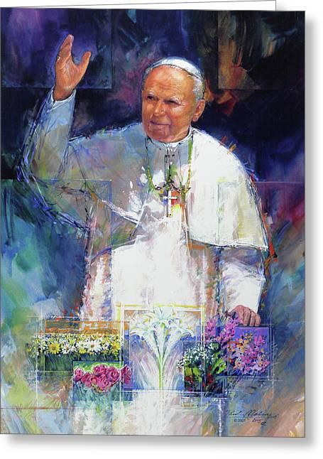 Saint Pope John Paul II Greeting Card by Paul Melia