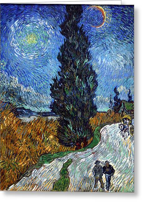 Saint-remy Road With Cypress And Star Greeting Card