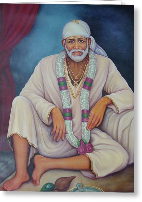 Saint Sai Baba, Shirdi Sai Baba, Portrait,online Art Gallery, Oil Painting On Canvas. Greeting Card