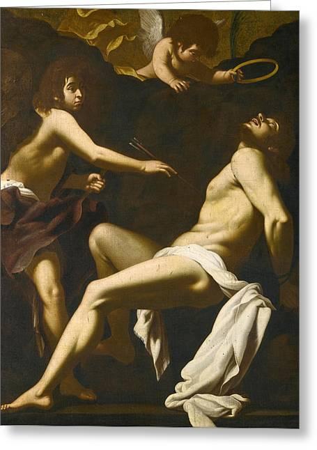 Saint Sebastian Succoured By The Angels Greeting Card