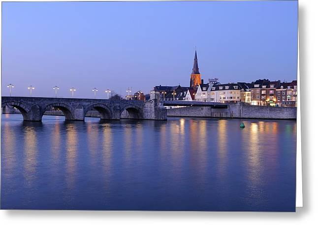 Saint Servatius Bridge And Wyck In Maastricht At Dusk Greeting Card