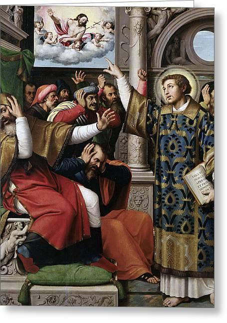 Saint Stephen Accused Of Blasphemy Greeting Card by Juan de Juanes