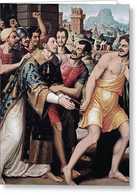 Saint Stephen Is Led To Martyrdom Greeting Card by Juan de Juanes