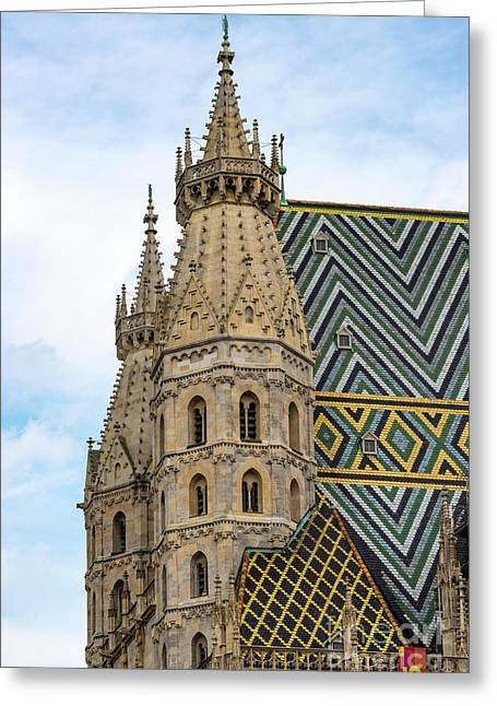 Saint Stephens Spires And Tiled Roof Greeting Card