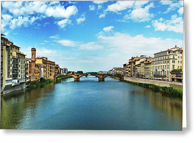 Panoramic View Of Saint Trinity Bridge From Ponte Vecchio In Florence, Italy Greeting Card