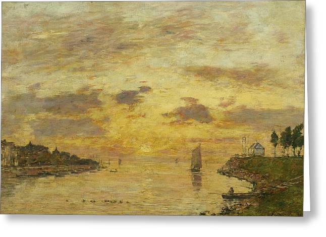 Saint-valery-sur-somme. The Mouth Of The Somme Greeting Card by Eugene Boudin