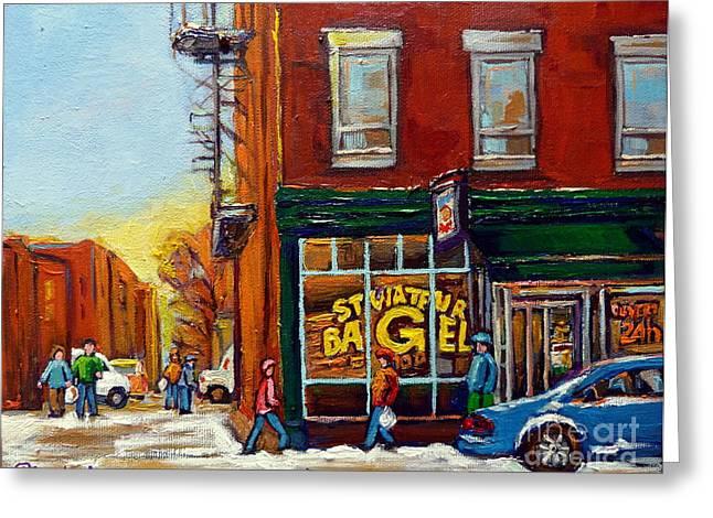 Saint Viareur And Park Avenue Bagel Shop Greeting Card by Carole Spandau