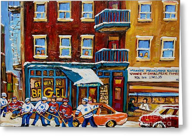 Montreal Winter Scenes Paintings Greeting Cards - Saint Viateur Bagel With Hockey Greeting Card by Carole Spandau
