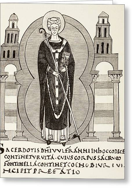 Saint Wulfram Of Fontenelle Or Saint Greeting Card by Vintage Design Pics