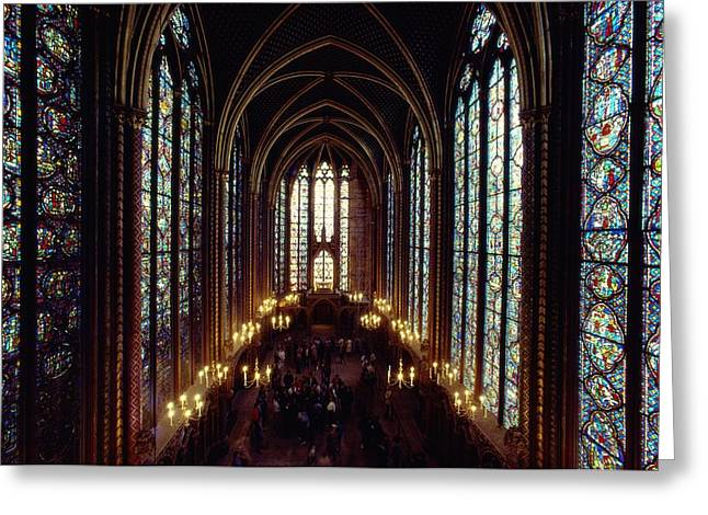Art Of Building Greeting Cards - Sainte-chapelle Interior Showing Greeting Card by James L. Stanfield