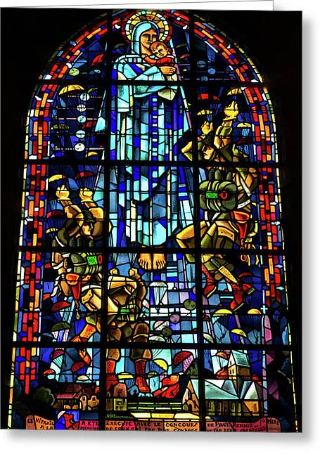 Sainte-mere-eglise Paratrooper Tribute Stained Glass Window Greeting Card