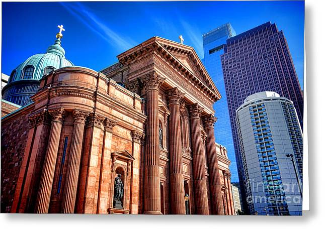 Downtown Franklin Greeting Cards - Saints Peter and Paul in Philadelphia   Greeting Card by Olivier Le Queinec