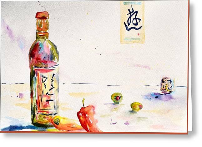 Sake Greeting Card by Beverley Harper Tinsley
